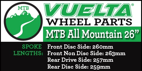 """Vuelta MTB All Mountain 26"""" Wheel Replacement Parts"""