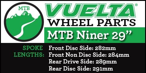 """Vuelta MTB Niner 29"""" Wheel Replacement Parts"""