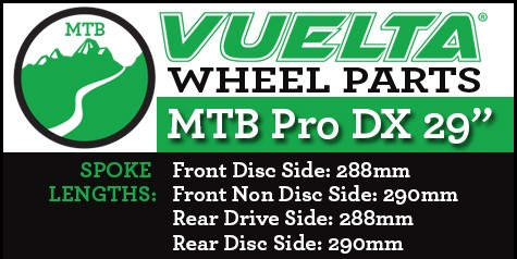 "Vuelta MTB Pro DX 29"" Wheel Replacement Parts"