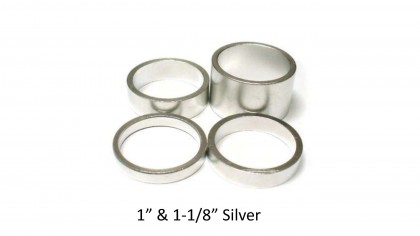 "Vuelta Headset Spacers 1"" & 1-1/8"" Silver (10 Per Bag)"
