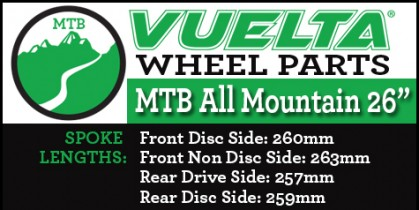 "Vuelta MTB All Mountain 26"" Wheel Replacement Parts"