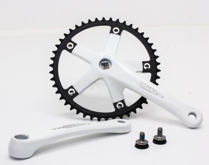 Vuelta Pista Team Fixed Gear / Track Crankset, 46T, 165 / 170mm White
