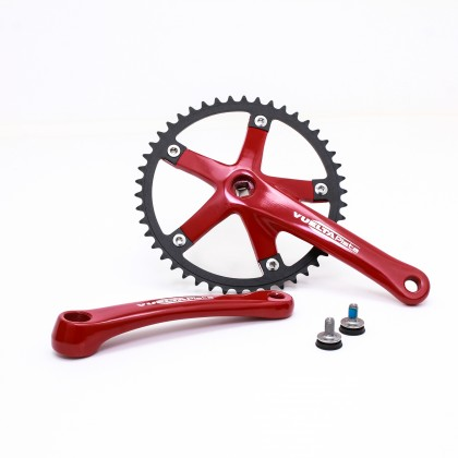 Vuelta Pista Team Fixed Gear / Track Crankset, 46T, 165 / 170mm Red
